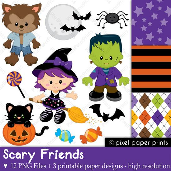 Halloween clipart and digital paper set - Scary Friends. $6.00, via Etsy.
