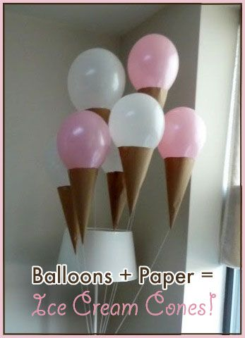"balloon with paper ""ice cream cone"""