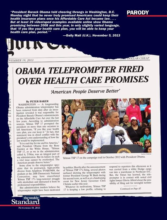 Obama TelePrompTer fired over health care promises...