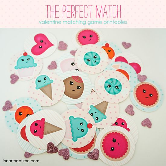 The Perfect Match: Valentine Game Free Printable...a  sweet treat with no calories, great for school or just your own little Valentine at home!