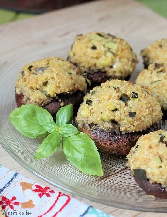Zucchini & Quinoa Stuffed Mushrooms (Gluten-Free) #recipe #vegetarian