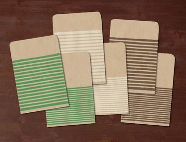 Stripes III - 6 handmade gift bags