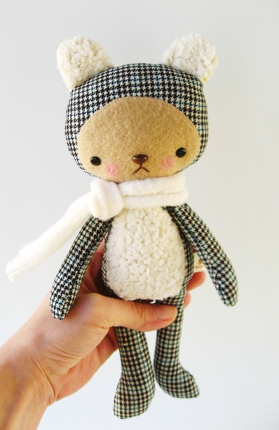 Kawaii Teddy Bear Stuffed Animal Plushie Upcycled Wool Small HARRY. $28.00, via Etsy.