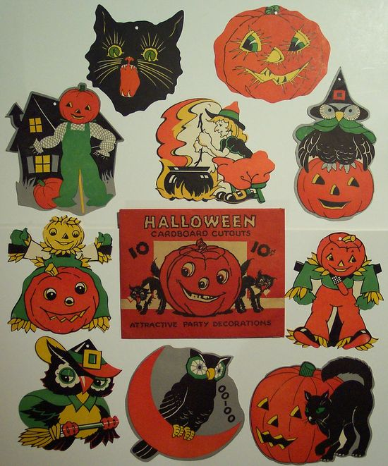 Vintage Halloween Cut outs with Original Package