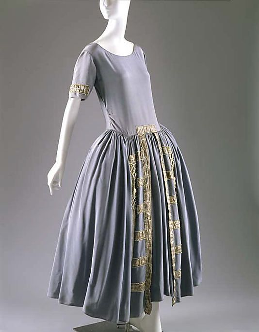 Dress (Robe de Style)  House of Lanvin  (French, founded 1889)  Designer: Jeanne Lanvin (French, 1867–1946) Date: 1922 Culture: French Medium: silk, metal, glass