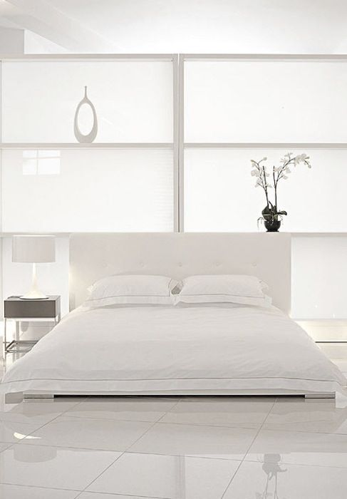 white bed