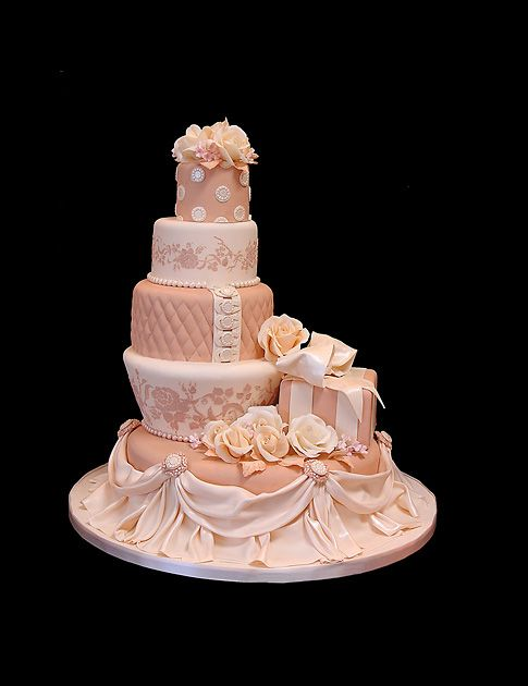 Pink Florals & Ribbons Wedding Cake    Such a pretty cake and so unusual #wedding #cake