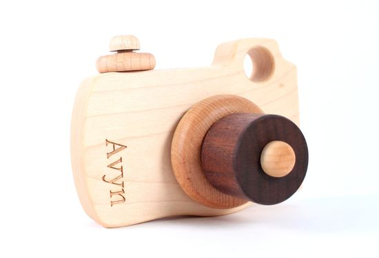 personalized wooden camera toy - natural wood imagination toy with homegrown organic finish, waldorf inspired creative play for toddler. $32.00, via Etsy.