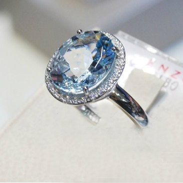 Engagement Ring - 5.2 Carat Aquamarine Ring With Diamonds In 14K White Gold. $995.00, via Etsy.