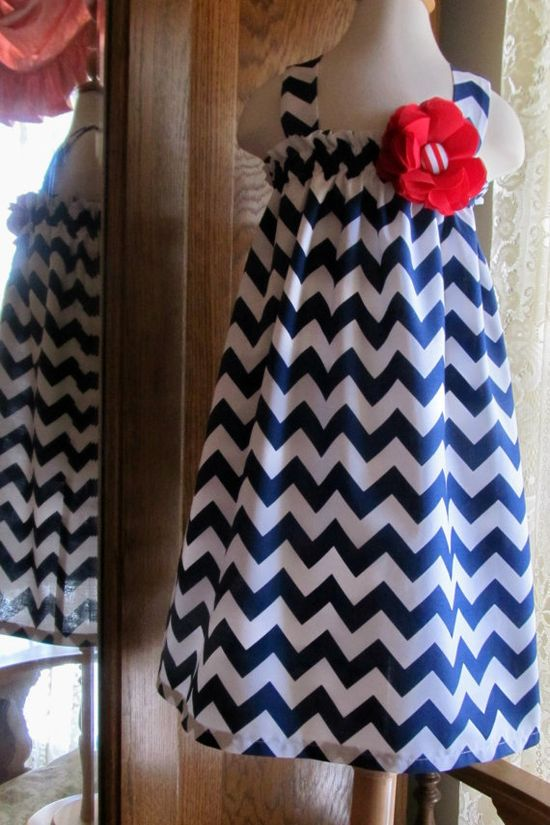 Girls easter dress navy blue chevron church by ThePetiteArmoire, $40.00