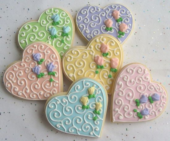 ROMANTIC HEART Decorated Cookie Favors   Wedding by lorisplace,