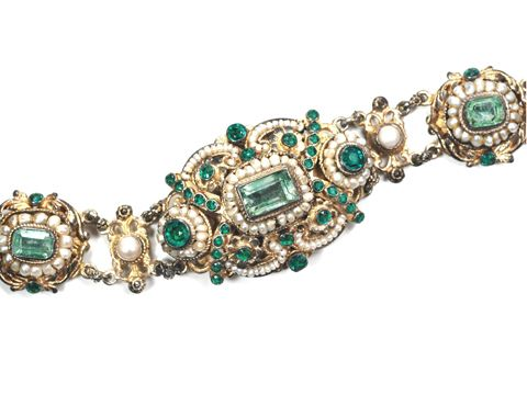 1900 Austro-Hungarian empire silver, emerald and pearl bracelet