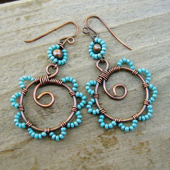 Bead Dance - wrapped antiqued copper hoops with beaded petals  #wirework
