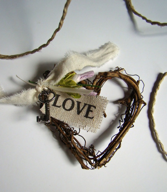 Rustic Wedding Boutonniere Grapevine Heart Key by TwiningVines, $13.50