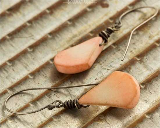Pink Coral Sterling Silver Earrings - Jewelry by Jason Stroud.