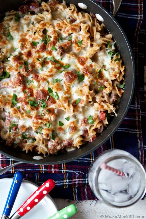 Cheesy Skillet Pasta with Meat Sauce recipe on FamilyFreshCookin... © MarlaMeridith.com