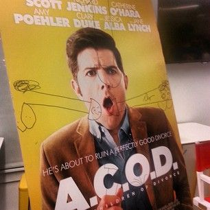 Adam Scott Came To BuzzFeed And Drew Penises All Over His Own Movie Poster Face