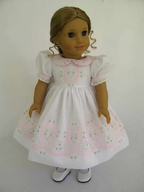 White and Pink Shadow Embroidered Dress
