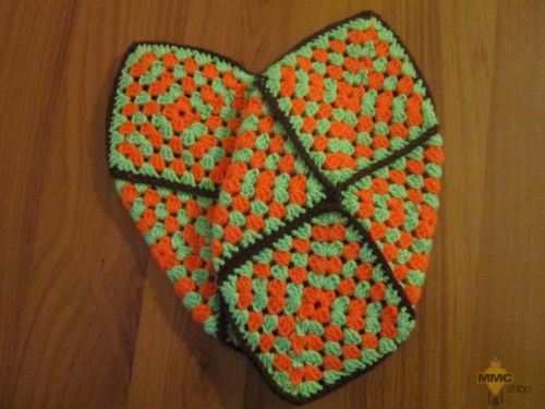 Women Granny square slippers-green orange hand made gift 41-43 EU, 9- 11 UK