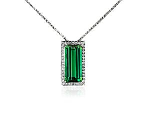 Emerald Cut Green Tourmaline and Diamond Pendant in 18k White Gold (6.77 cts.) - swoon!