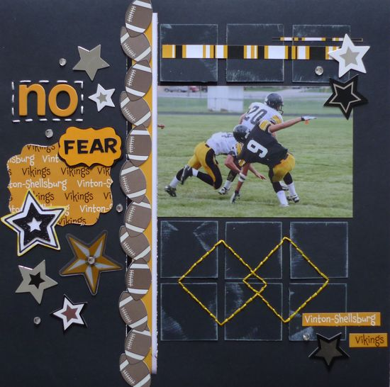 No Fear ~ - Scrapbook.com - Terrific layout. #scrapbooking #layout #bazzillbasics #fiskars #thermoweb #wermemorykeepers