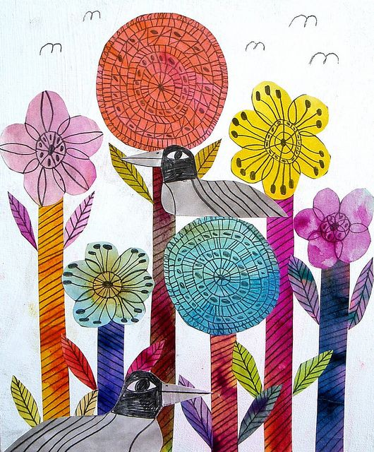 Flowers-Thin sharpies and liquid watercolors