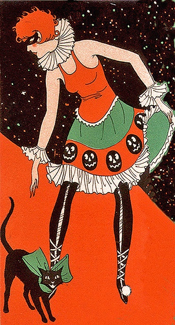 Love the smiling jack-o-lanterns on this masked flapper gal's delightful Halloween costume. #costume #pumpkin #Halloween #vintage #flapper #1920s #1930s