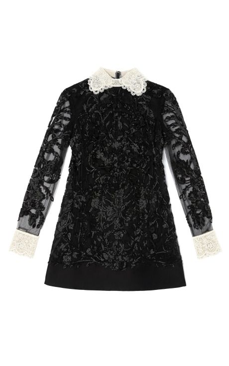 Valentino Long Sleeved A-Line Embroidered Dress