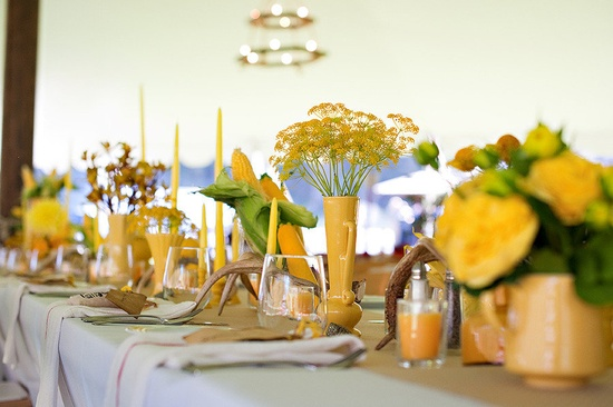 Each table had a different color inspiration! Photography by Green Door Photography, Event Planning & Floral Design by Habitat Events