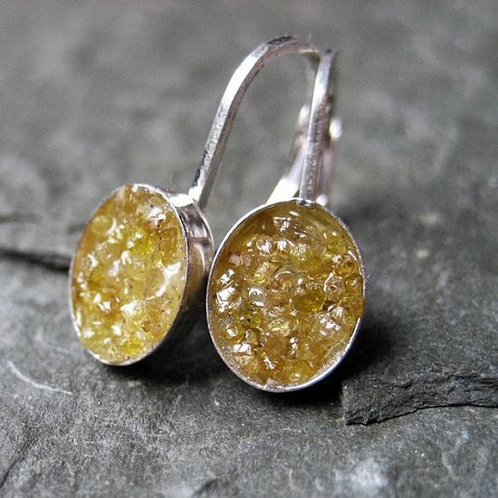 Raw yellow diamond earrings rough diamonds in by metalicious