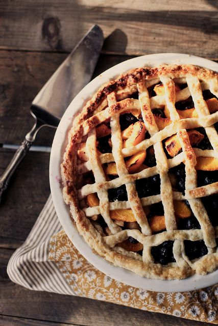 peach & blueberry pie. recipe on honey & jam.