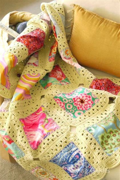 Fabric And Crochet Blanket I love this!