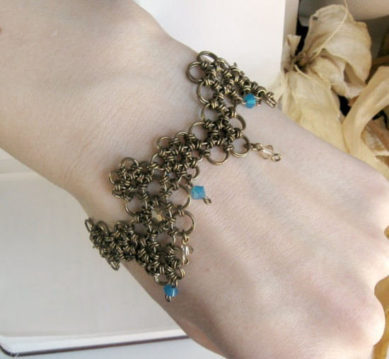 Chainmaille and Swarovski Bracelet