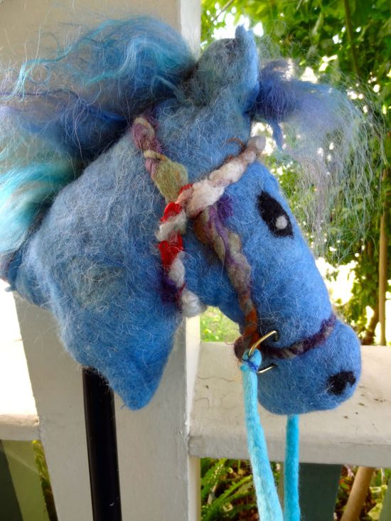 Children's Toy Stick Pony Wet Felted Wool Turquoise by FeltBetter