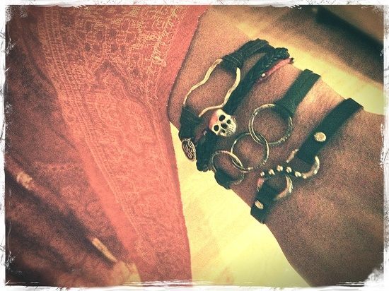 Sterling & leather #Bracelets from JewelryByMaeBee on #Etsy. Yum.