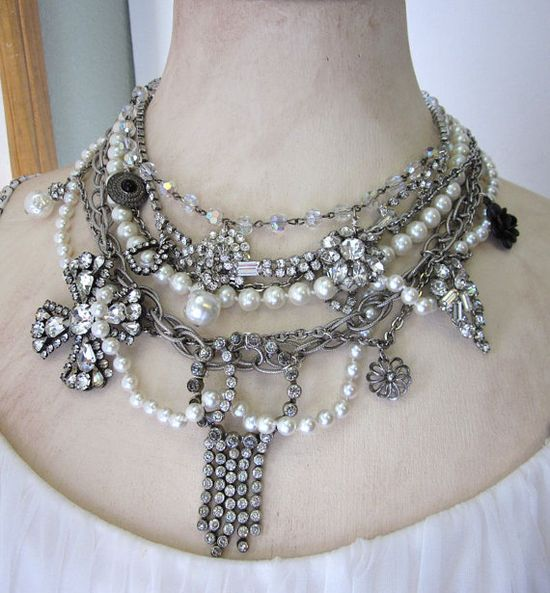 Vintage Statement Assemblage Necklace OOAK Handmade by jryendesigns #assemblage #upcycled #jewelry