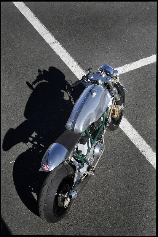 Modern Ducati engine in a cafe body.
