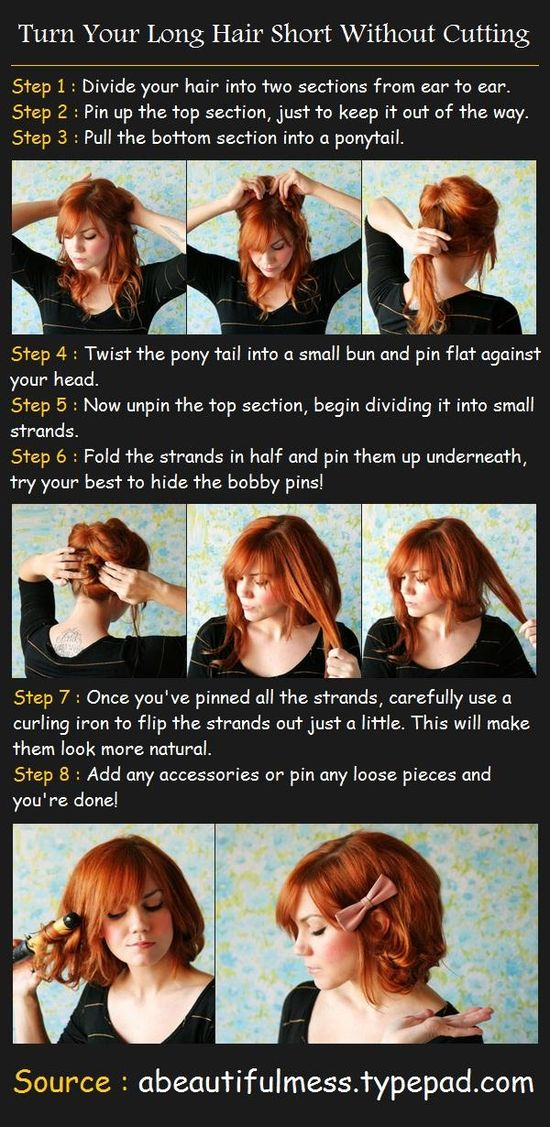 Turn Your Long Hair Short Without Cutting Tutorial. This should be easy once I get my hair layered!