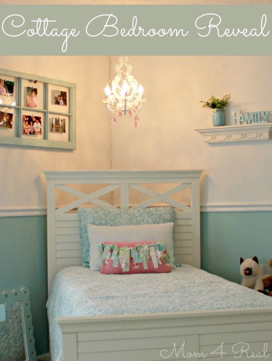 DIY::Ten Year Old (Kate's :)  Beautiful Cottage Bedroom Makeover !! by @Jessica Kielman         {Mom 4 Real}