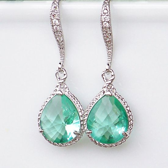 New Color/ Sea Glass Crystal Teardrops Framed in Silver, Hanging From French Jeweled Earrings via Etsy