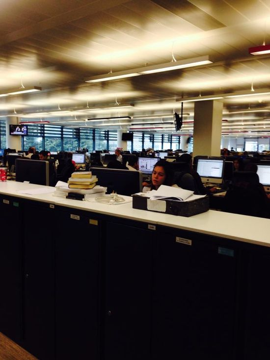 An image of the main newsroom floor - designers and developers up one floor. Note open space.