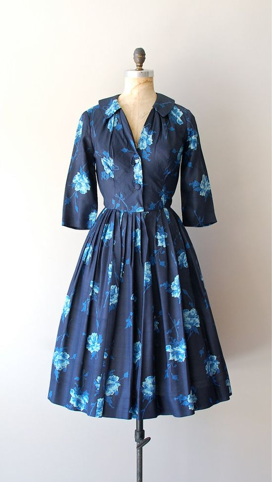 vintage 1950s Wild Iris silk dress     #fashion #floral #dress #1950s #partydress #vintage #frock #retro #daydress #floralprint #petticoat #romantic #feminine