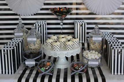 Black And White Themed Lolly Buffet Table By Www.thecompletekidsparty.com.au