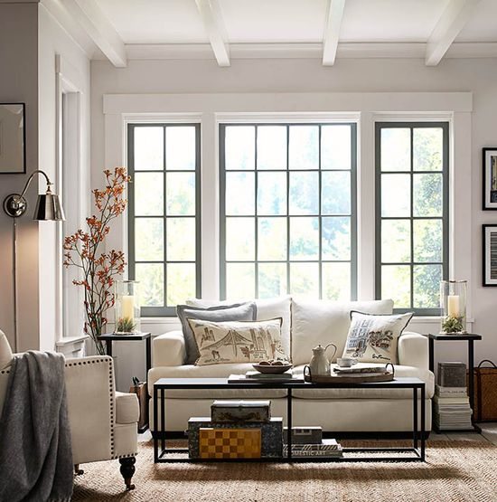 Love the bright windows. Style with size in mind. #potterybarn