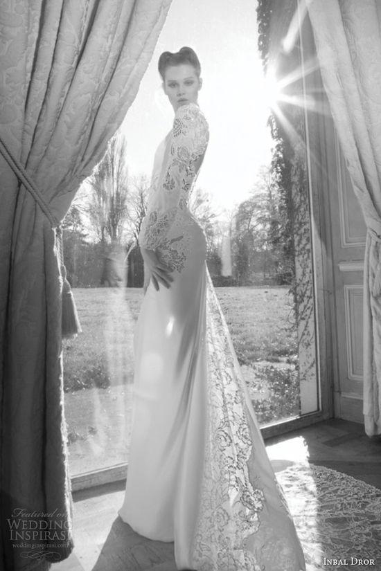 inbal dror 2013 bridal wedding dress long puff sleeve lace guipure train