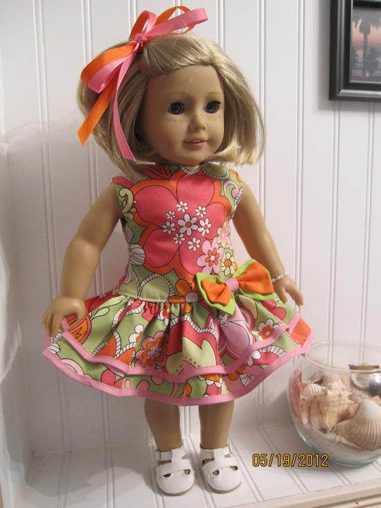 American Girl Doll Dress 1930's Party Dress Set - 1960's Flower Power. $16.00, via Etsy.