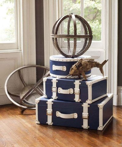 Set of Two Navy Nautical Steamer Trunks design by Lazy Susan
