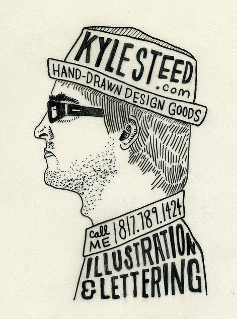 illustration and type business card