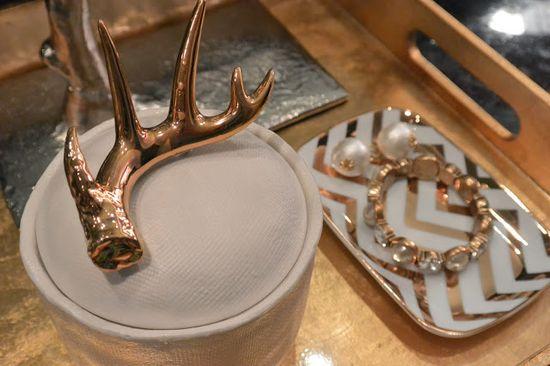 Anthropologie gold antler candle // bathroom decor