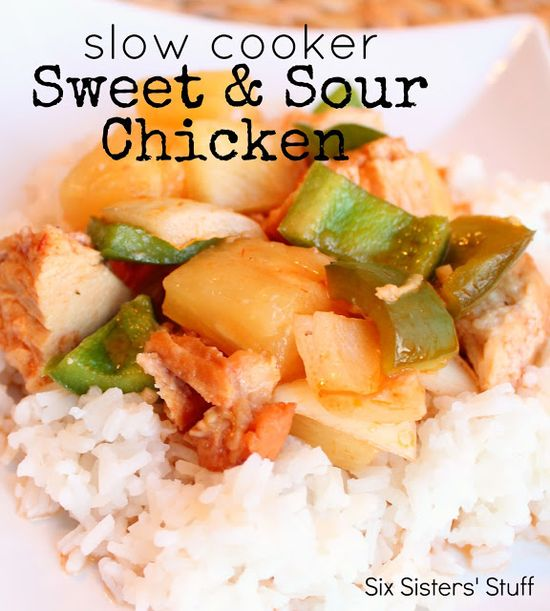 Slow Cooker Sweet and Sour Chicken! From Sixsisterstuff.com #slowcooker #chicken